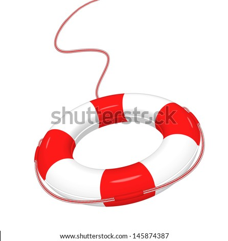 Vector illustration of white red Lifebuoy isolated on white.  EPS10. - stock vector