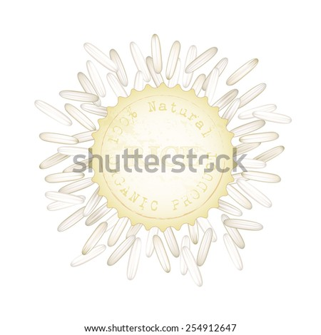 Vector illustration of white rice. Packaging label. Asian traditional food of Japan, Korea and China.  - stock vector