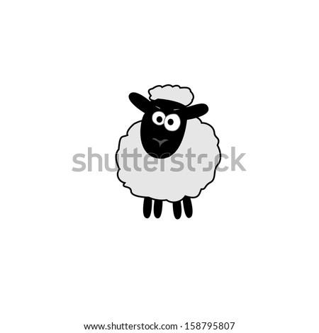 vector illustration of white sheep outline - stock vector