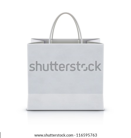 Vector illustration of white shopping paper bag isolated on white background - stock vector