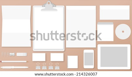 Vector illustration of white stationary or branding identity mock up - stock vector