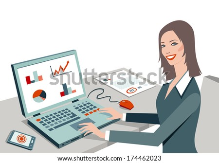 Vector illustration of white working business women sitting on her office desk, working with computer. Concept of modern business women. - stock vector