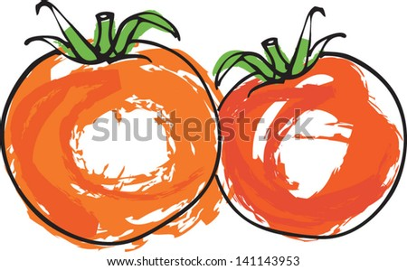 Vector illustration of whole tomatoes - stock vector