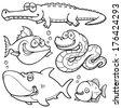 Vector illustration of Wild animal cartoon - Coloring book - stock vector