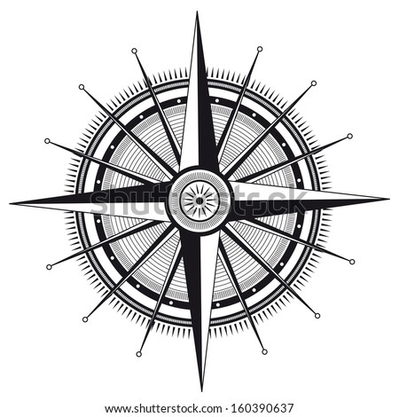Vector illustration of wind rose in black and white color - stock vector