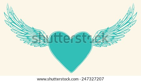 Vector illustration of winged blue heart over white background - stock vector