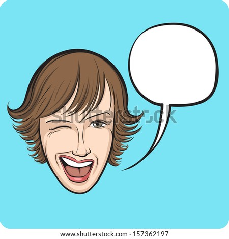 Vector illustration of winking young woman with speech bubble. Easy-edit layered vector EPS10 file scalable to any size without quality loss. High resolution raster JPG file is included.  - stock vector