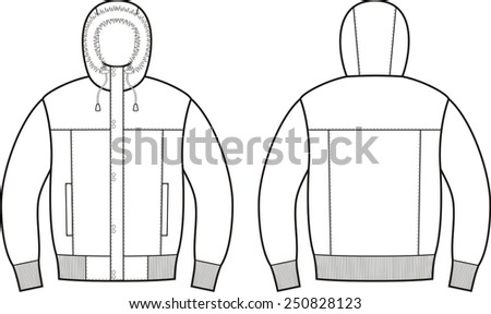 Vector illustration of winter down jacket. Front and back views - stock vector