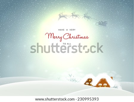 Vector illustration of Winter landscape with houses - stock vector