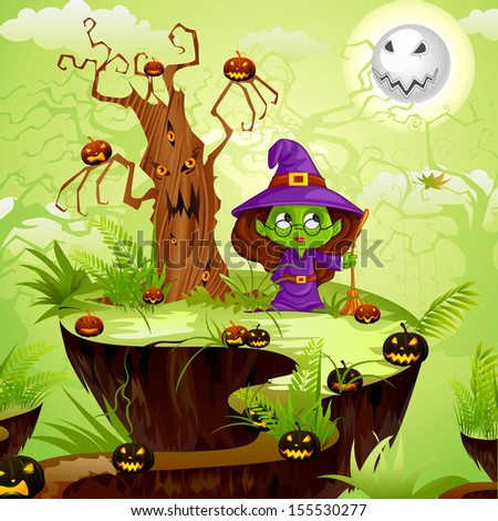 vector illustration of witch in Halloween land - stock vector