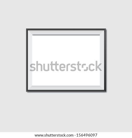 Vector illustration of wodden frame on a gray background  - stock vector