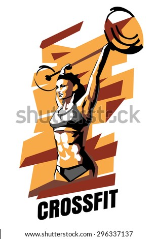 Vector illustration of woman CrossFit on an abstract background. CrossFit poster. - stock vector