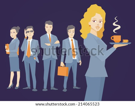 Vector illustration of woman portrait secretary with coffee in hand on dark background of business team of young businesspeople - stock vector