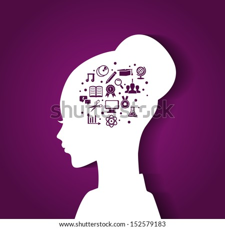 Vector illustration of Woman's head with education icons - stock vector