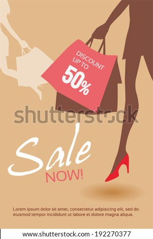 Vector illustration of woman with shopping bag. - stock vector