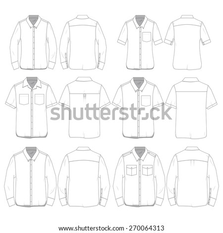 Vector Illustration of Women and Men's Button Down Shirts. - stock vector