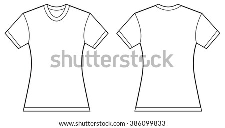 Vector illustration of women blank shirt, front and back design, isolated on white - stock vector
