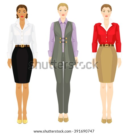 Vector illustration of women in various elegant office clothes isolated on white background. Young women with different skin tones and hair color. - stock vector
