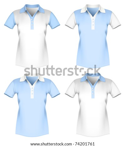 Vector illustration of women polo shirt template. - stock vector