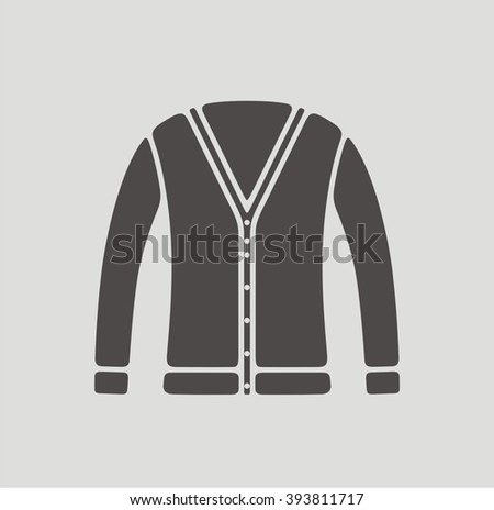 Vector illustration of women's cardigan icon - stock vector