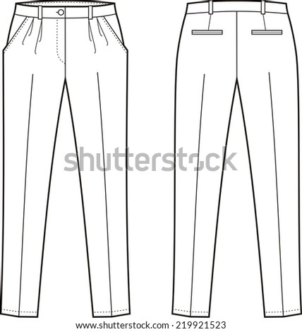 Vector illustration of women's pants. Front and back views - stock vector