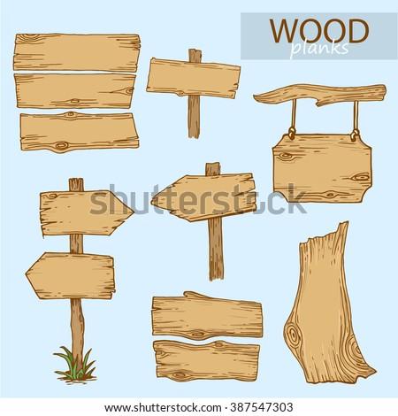Vector illustration of wood planks - stock vector