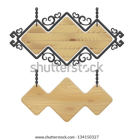 vector illustration of wooden and metal signboard - stock vector