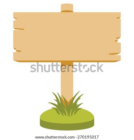 Vector illustration of wooden signboard. Cartoon style. Isolated on white. - stock vector