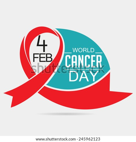 Vector illustration of World Cancer Day background with red ribbon. - stock vector