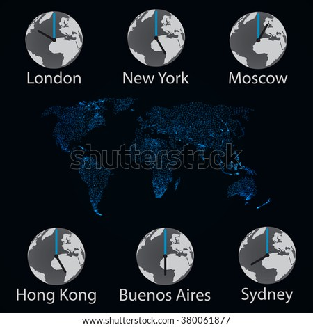 Vector illustration of world clock - stock vector
