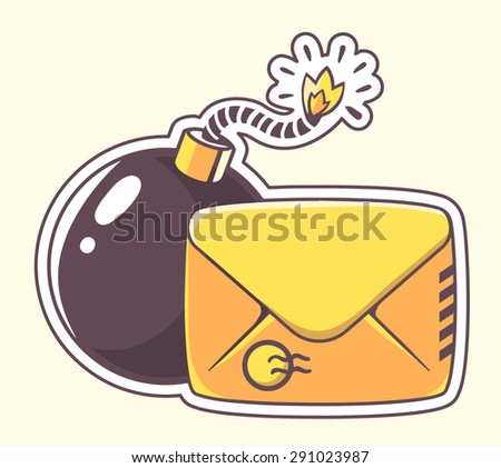 Vector illustration of yellow envelope with bomb on color background. Hand draw line art design for web, site, advertising, banner, poster, board and print.   - stock vector