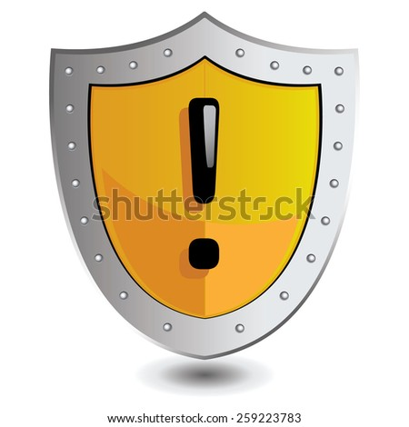 Vector illustration of Yellow exclamation point shield : Attention concept. - stock vector