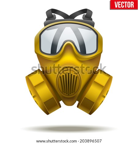Vector Illustration of Yellow gas mask respirator. Rubber rescuer symbol of defense and protect. Isolated on white background. - stock vector