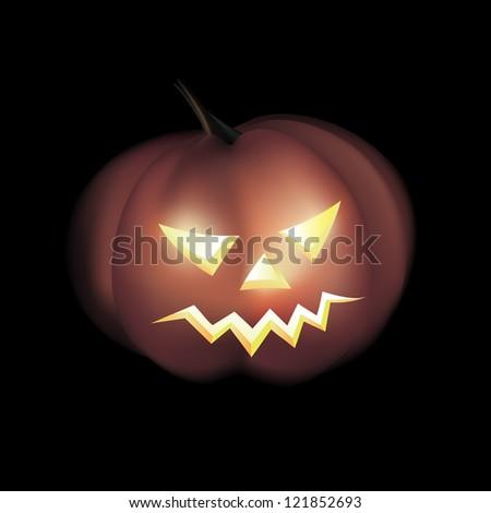 Vector Illustration of Yellow Halloween Pumpkin - stock vector