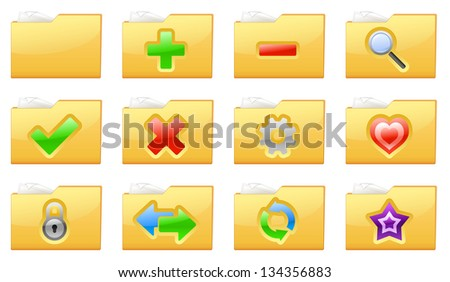 Vector illustration of yellow interface folder management and administration icons - stock vector
