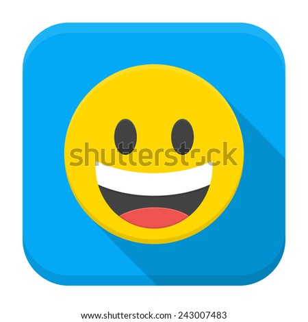 Vector illustration of yellow laughing smile. Flat app square icon with long shadow. - stock vector