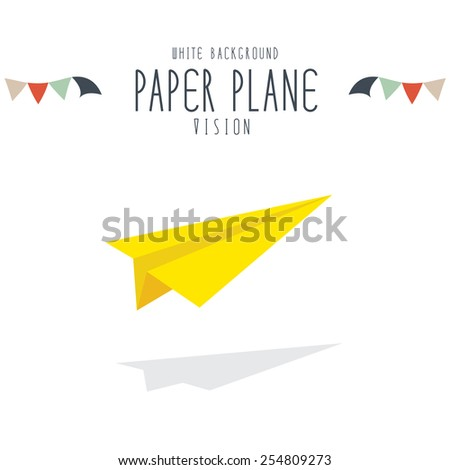vector illustration of yellow paper plane on white background. - stock vector