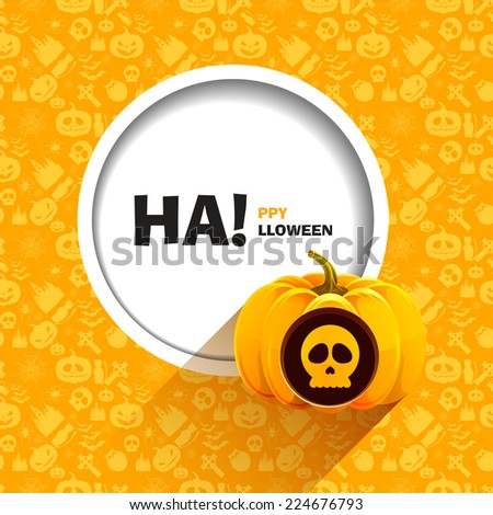 Vector illustration of yellow seamless patterns for a happy Halloween party. Skull carved on a pumpkin for Halloween. Use for brochures, printed materials, banner, greeting, card - stock vector