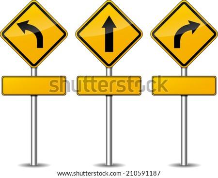 Vector illustration of yellow turn signpost set - stock vector