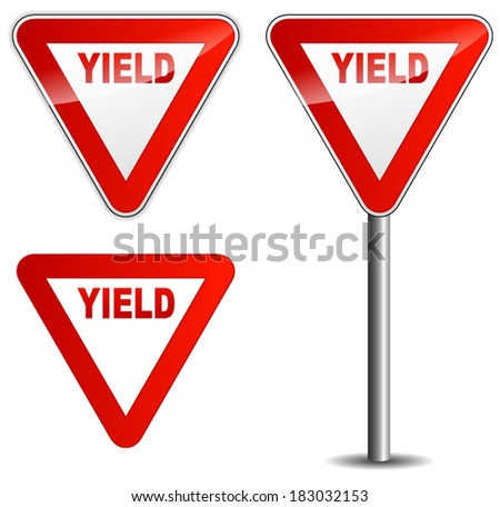 Vector illustration of yield sign on white background - stock vector