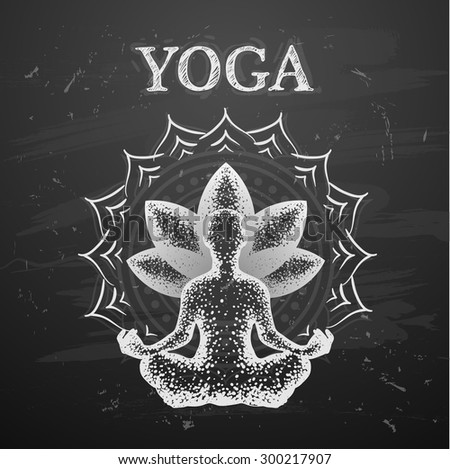 Vector illustration of yoga poses on blackboard background - stock vector