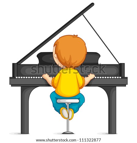vector illustration of  young boy playing piano - stock vector