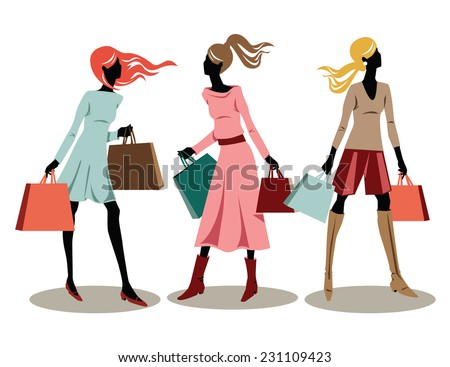 Vector illustration of young fashionable women shopping. - stock vector