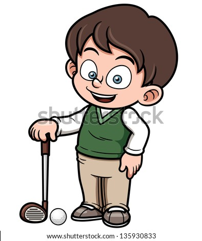 Vector illustration of young golf player - stock vector