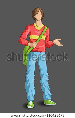 vector illustration of young male student with bag - stock vector