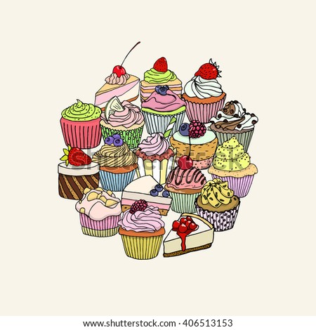 Vector illustration of yummy hand drawn desserts. Beautiful design elements for pastry shops, coffee hoses, cafes or any other business related to the catering. - stock vector