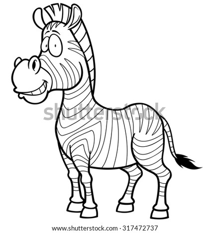 Vector illustration of Zebra - Coloring book - stock vector