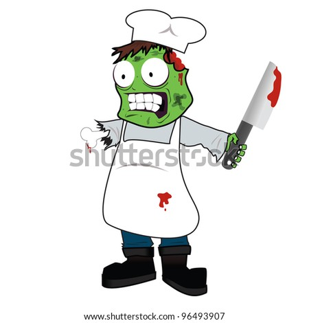 vector illustration of zombie chef - stock vector