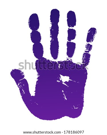 Vector illustration old man violet hand print isolated on white background. Created in Adobe Illustrator. Image contains gradients. EPS 8. - stock vector