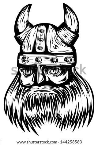 Vector illustration old viking in helmet with horns - stock vector